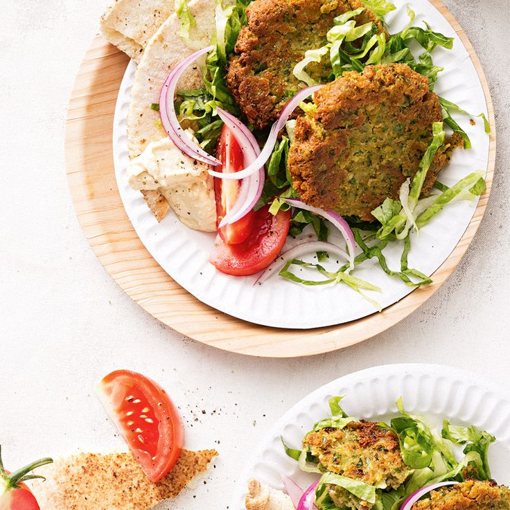 How to make Falafel with Salad & Hummus for an amazing Lebanese-inspired weeknight dinner. #Falafel #Salad #Hummus #Lebanese #Dinner