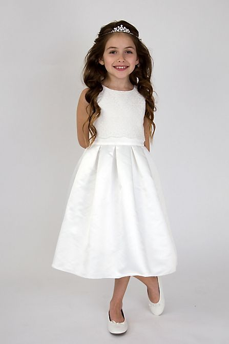 0f1f2fb0b78 Scalloped Lace and Satin Flower Girl Dress