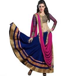 Buy Blue Embroidered  unstitched lehenga-choli With Blouse Piece ghagra-choli online