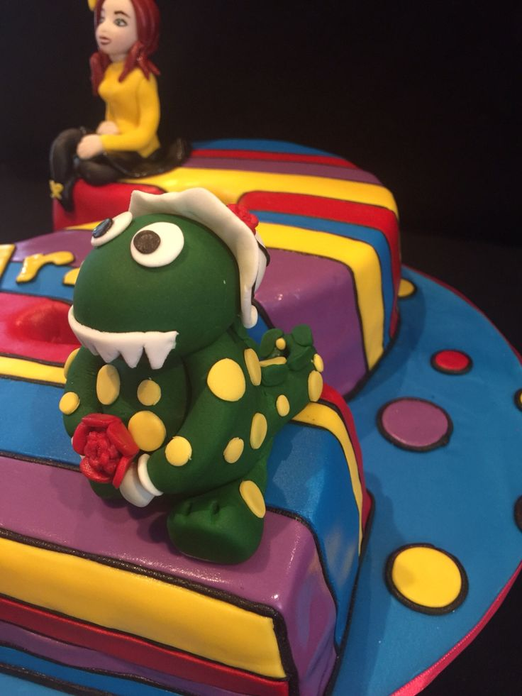 Emma and Dorothy the dinosaur cake toppers, in fondant, wiggles theme cake.., pic 3