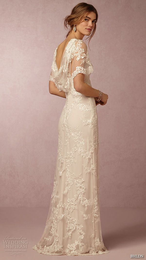 bhldn spring 2016 flutter sleeves illusion jewel semi sweetheart neckline fully embellished sheath column lace wedding dress cowl back marchesa (estella) bkv