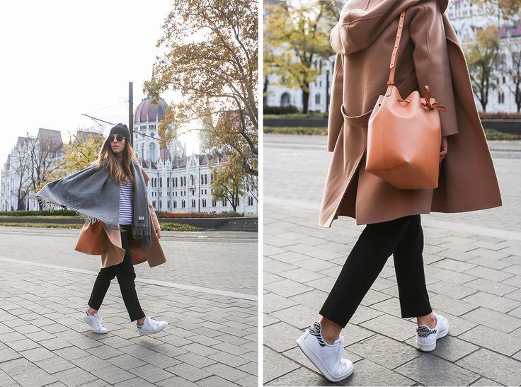 Coat: Max Mara | Trousers: GAP | Tee: GAP | Sneakers: Adidas | Scarf: Acne | Beanie: COS | Bag: Mansur Gavriel | Sunnies: The Row.