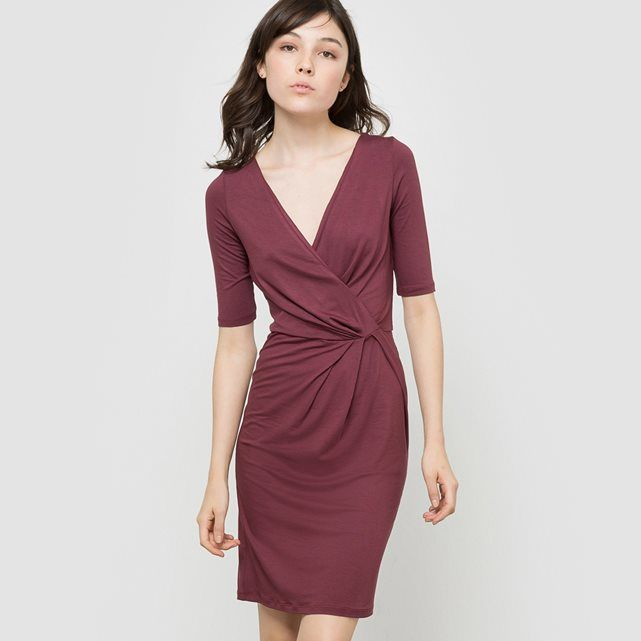 Wrapover Dress R édition : price, reviews and rating, delivery. R EDITION dress with 3/4 length sleeves. Form-fitting. Wrapover style top with V-neckline. Length 90cm.Fabric content and detailsFabric: 95% viscose, 5% elastaneBrand: R EDITION