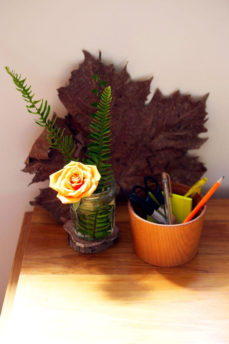 #orange #rose #autumn #fern #leaf. Styling by Placesandgraces