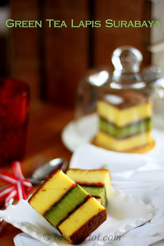 Green tea lapis surabaya cake. Lapis means Layer in Bahasa Indonesia and 'Surabaya' is the capital city of Eastern Java Province, Indonesia.