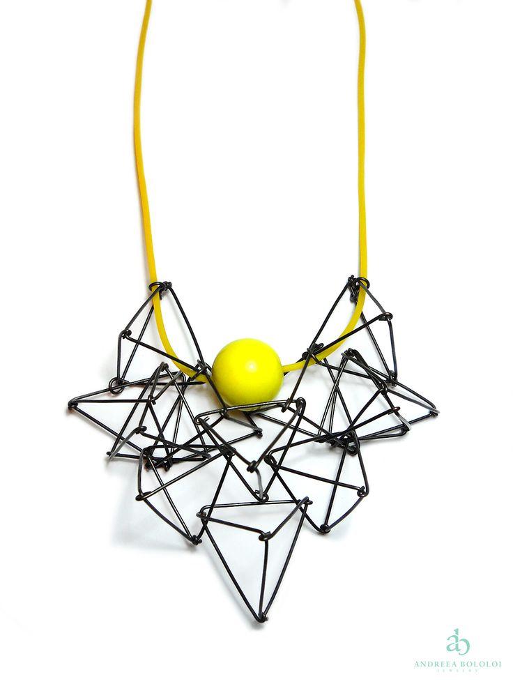 "Andreea Bololoi Jewelry: ""Tangled"" Pendant - Yellow | #pendant #geometric #volume #threedimensional #pyramids #triangle #oxidized #copper #wire #wirework #handcrafted #handmade #black #yellow #silicone #cord #contemporaryjewelry #ArtJewelry #andreeabololoijewelry"