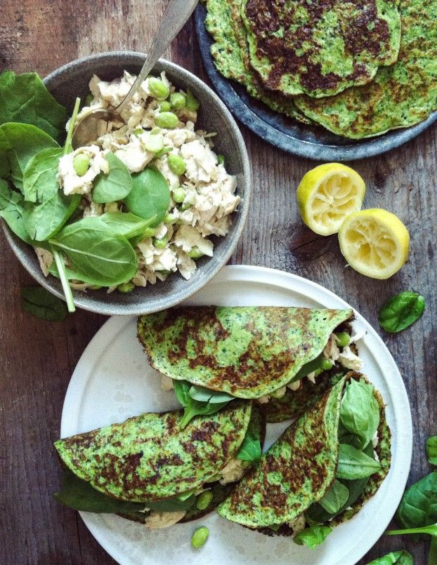 green & grain free pancakes with creamy chicken and chickpea salad