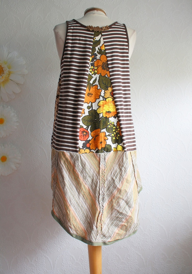 Plus Size Upcycled Long Top Women's Clothing Bohemian Tunic Brown Shirt Orange Vintage Fabric Eco Friendly Clothes 1X XLarge 'PAMMIE'. $64.00, via Etsy.