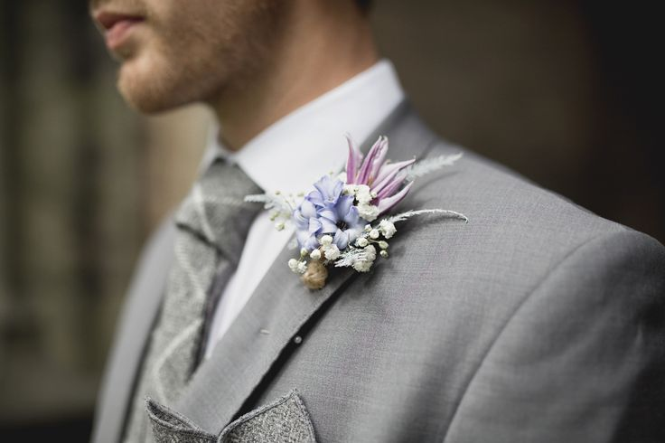 Beautiful buttonholes from The Flower Shop in sandwich for a Pastel-Hued Spring Wedding. Photography by Amanda Balmain