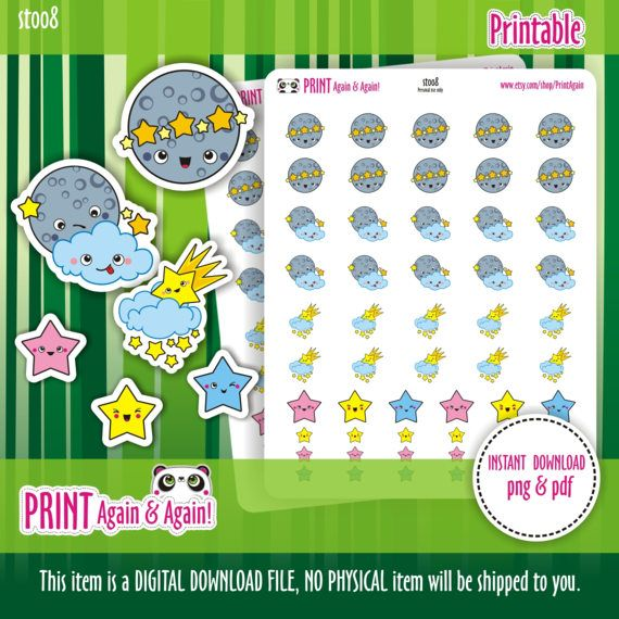 Moon 2 Printable Planner Stickers Star Stickers Moon by PrintAgain
