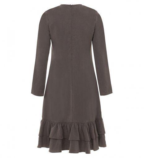 ash ruffle midi dress
