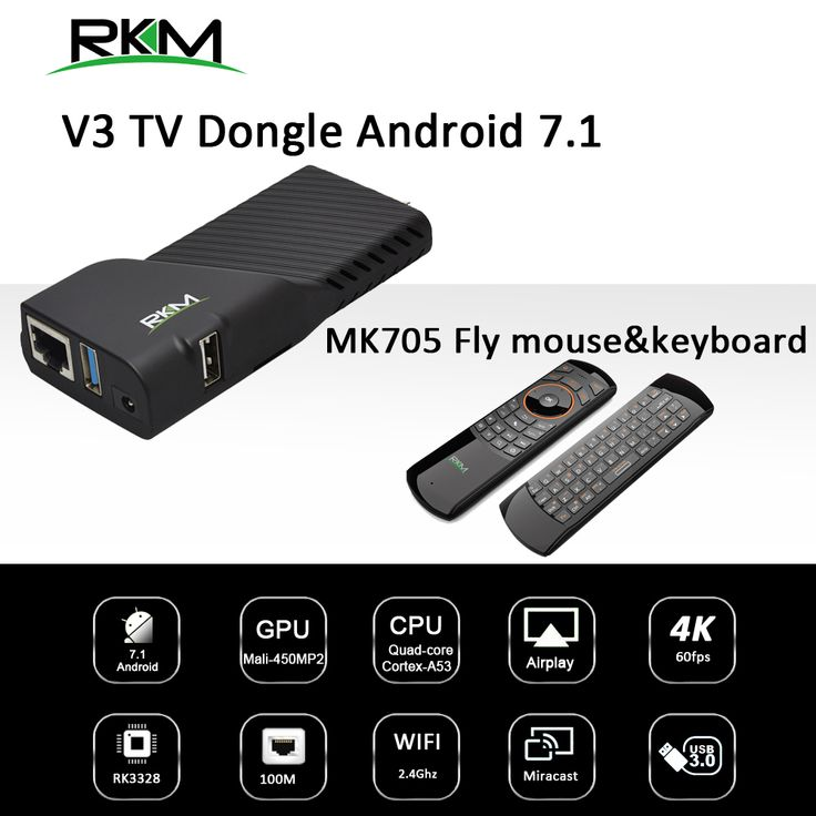 Find More Set-top Boxes Information about RK3328 Rockchip Android 7.1 TV BOX 2GB 8GB 2.4G WIFI 100M   Media player & fly mouse RKM V3 +MK705,High Quality rkm,China rkm mk705 Suppliers, Cheap rkm remote from Rikomagic MK802 family Store on Aliexpress.com