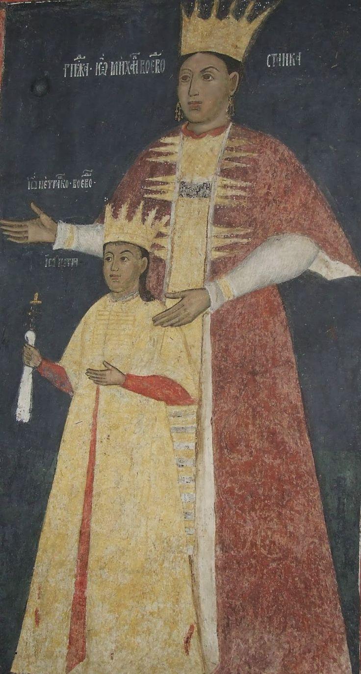 Căluiu Monastery - Lady Stanca and her son Pătrașcu Voivode.