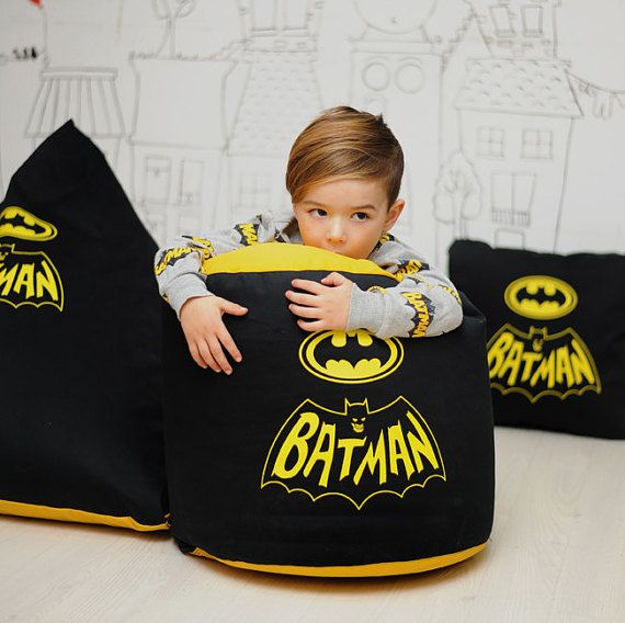 Kids Superhero Pouf Cover Batman Bean Bag ChairsBean