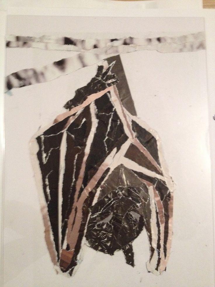 Vleermuis in collage | Ondersteboven