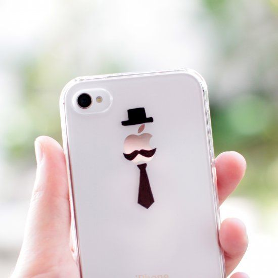"""DIY """"Monsieur Apple"""" iPhone case completed within 15 minutes. All you need is a white iPhone, a clear phone case, and a black Sharpie!"""