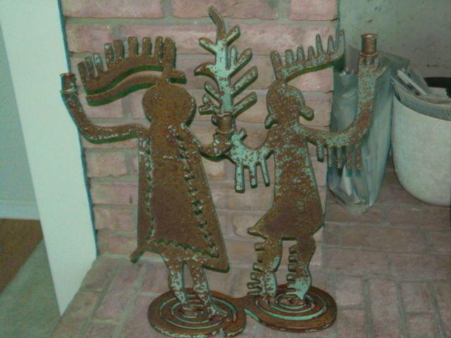 Steel Cut  Southwestern Sculpture 4 Candleholder Dancers Kokopelli Floor Garden