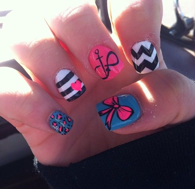 Finally got the Infinity, Bow, and Anchor nails. | Nails ...