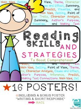 Reinforce Comprehension skills with these vibrant posters! Display on your focus wall, use in student binders and create a fun classroom display with these 16 posters! Makes an excellent ELA Bulletin Board and helps students visualize the skills or concepts as they are introduced and reinforced throughout the year!