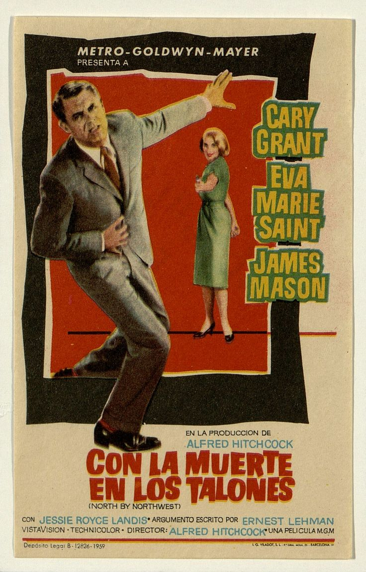 50.    Con la muerte en los talones. Dirigida por Alfred Hitchcock. Barcelona: I. G. Viladot, 1959 #ProgramasdeMano #BbtkULL #MGM #DiadelLibro2014