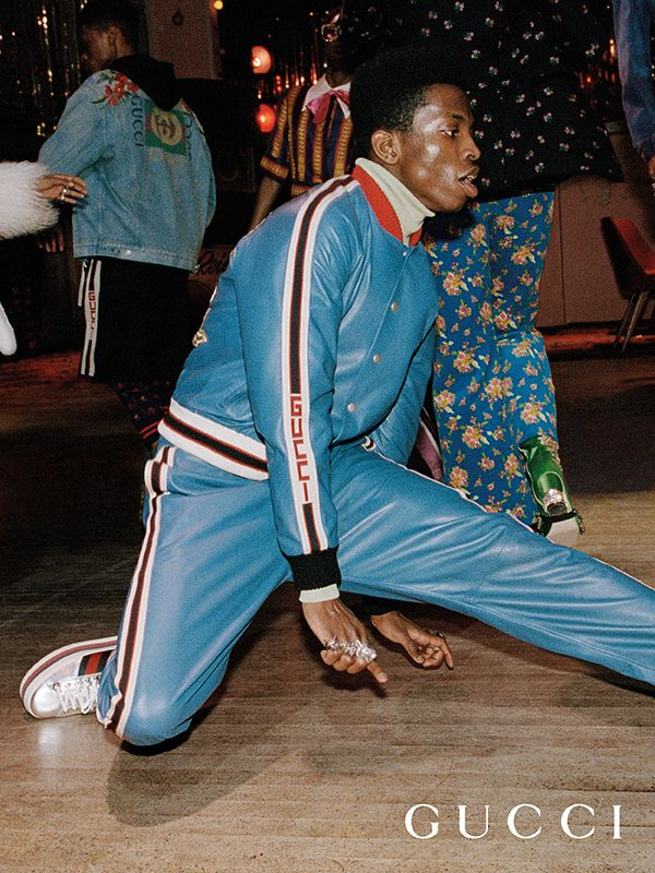 Athletic dance moves and exuberant social scenes photographed by Glen Luchford for the new Gucci Pre-Fall 2017 campaign by Alessandro Michele.