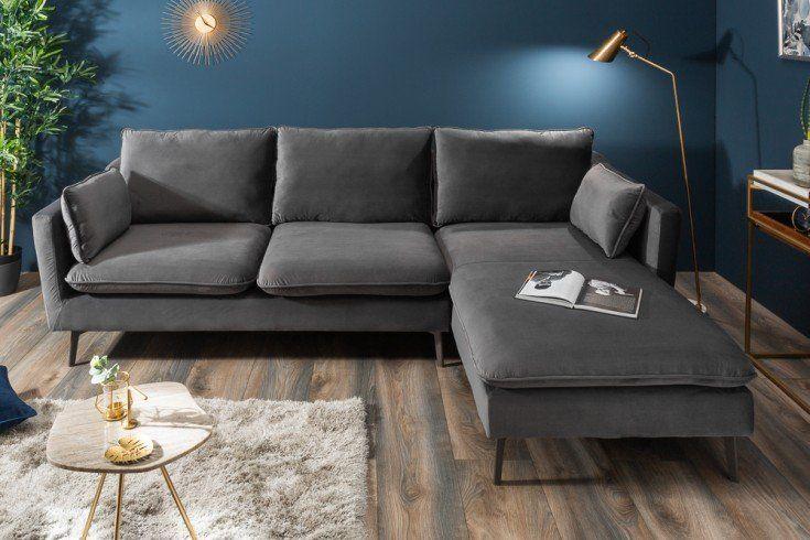 Design Ecksofa Famous 260cm Silbergrau Samt Federkern Inkl Kissen Riess Ambiente De In 2020 Corner Sofa Sofa Cushions