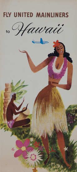 Original United Airlines Travel Brochure Mainliners to Hawaii