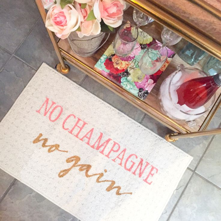 No Champagne, No Gain Indoor mat by Be There in Five -- champagne, champs, champagne lovers, champagne shirt, bachelorette, rose gold, pink, home decor, funny doormat, kitchen mat