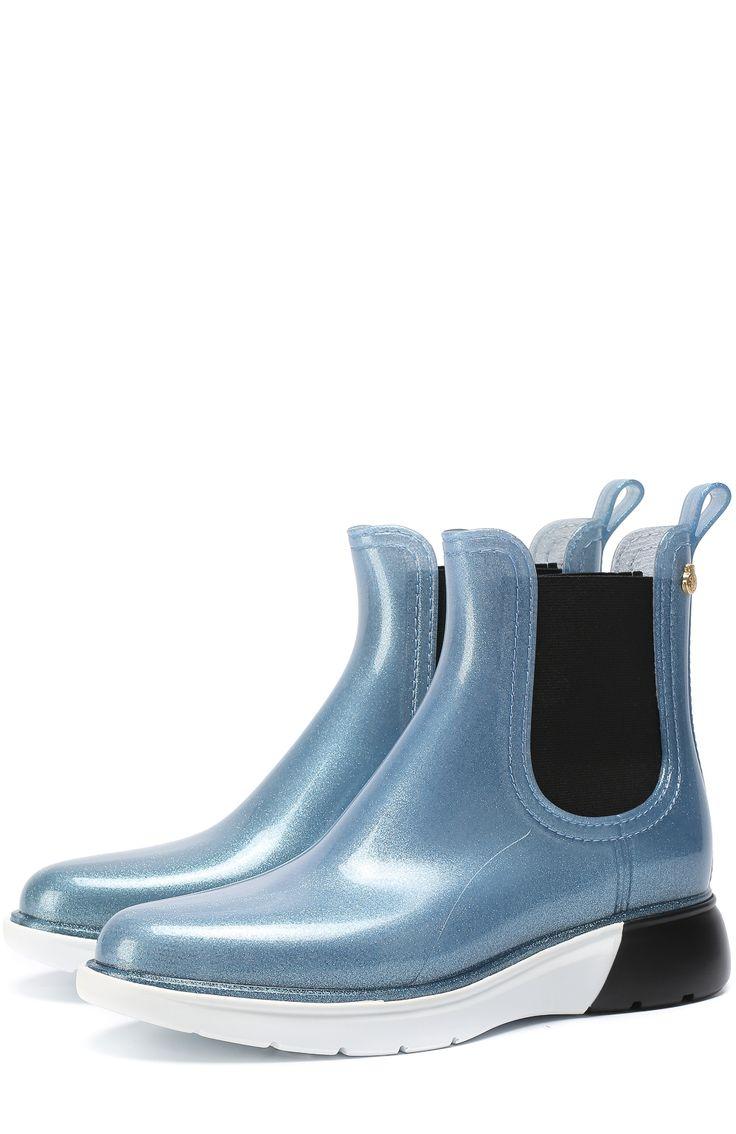 Женские голубые резиновые сапоги на контрастной подошве Lemon Jelly, сезон SS 2017, арт. WING купить в ЦУМ   Фото №1