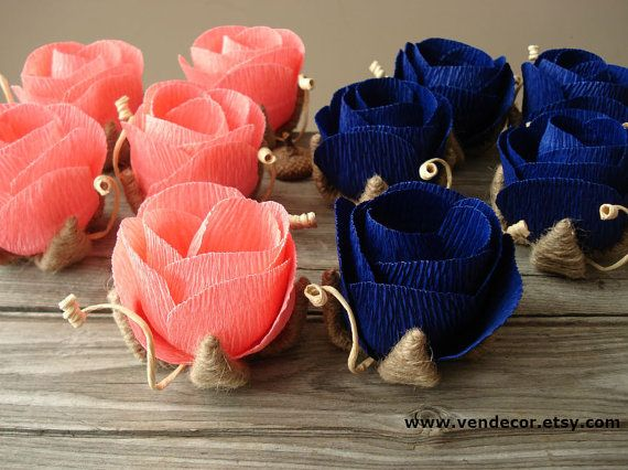 Hey, I found this really awesome Etsy listing at https://www.etsy.com/listing/163566112/small-rustic-roses-set-of-10-coral-navy