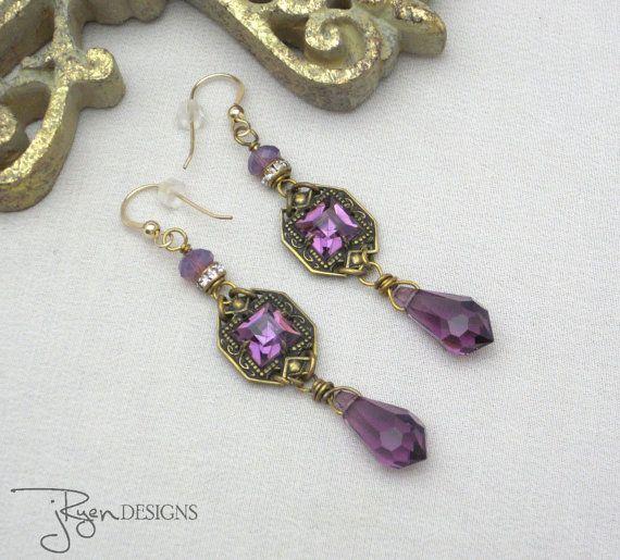 Voorzien van Strass oorbellen Purple Rhinestone door jryendesigns