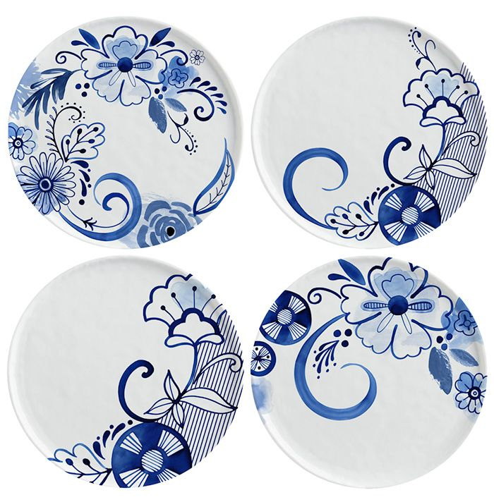 Margaret Berg Art: Contemporary+Blue+&+White+Plate+Set+