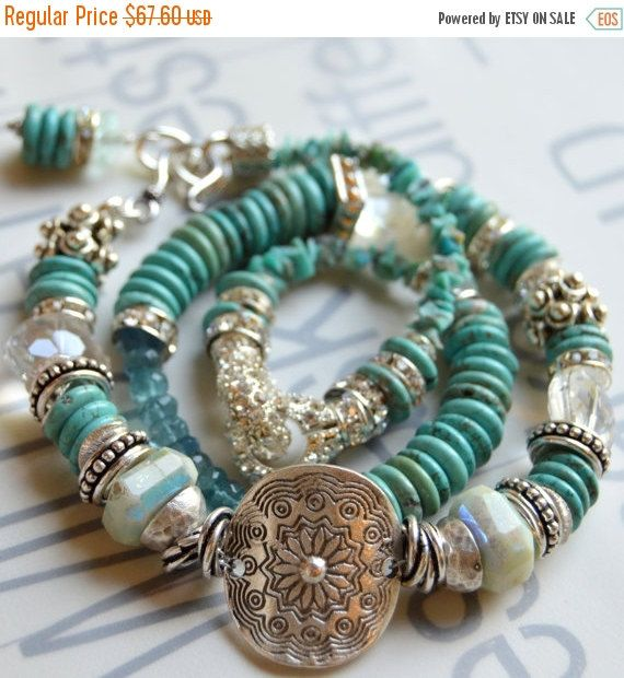 ON SALE turquoise bracelet aquamarine bracelet by soulfuledges