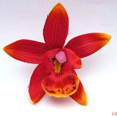 Fleur artificielle orchidée fine pétale dégradé orange 7,5cm pour barrette cheveux  x1