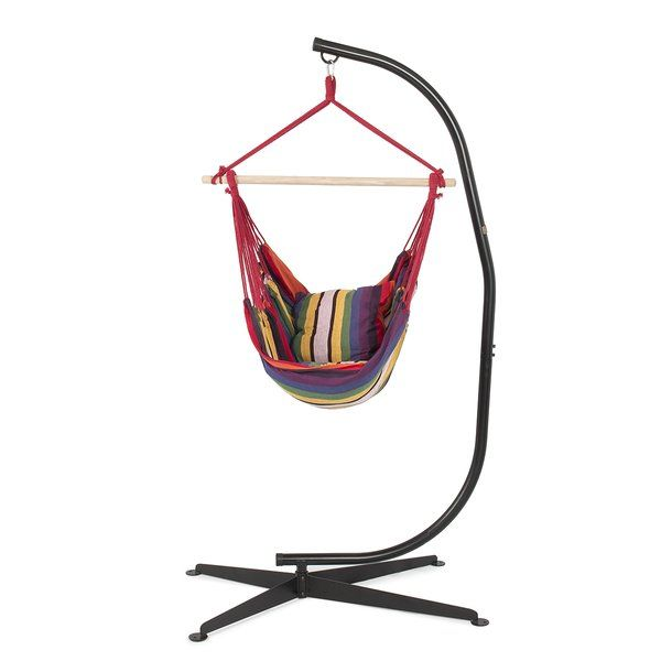Hammock with stand is ideal for you to enjoy your hammock chair indoor or outdoor. The frame style offers you a 360 degree of hanging freedom. This unique stand will add style to any patio or backyard. It is specially designed to conform to the shape of your lower back so it's not only comfortable to sit in, but it eases tensions while relieving stress for your spine.