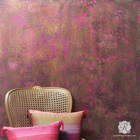 Floral Firework Large Wall Stencil Allover Pattern for Wall