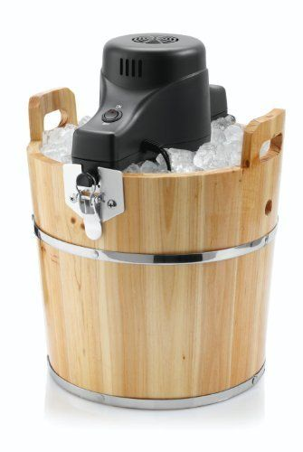 Sunbeam FRSBWDBK 4-Quart Ice Cream Wooden Bucket by Sunbeam. $51.35. Makes 4 quarts of delicious homemade ice cream. Motorized Electric crank. Enjoy making your own ice cream with the family. Requires ice cream mix, rock salt and ice. Solid pine wood bucket. Remember 4th of July picnics from years past? Taking turns churning the ice cream, eagerly awaiting that first scoop? Bring the nostalgia home with this family-friendly ice-cream maker from Sunbeam. Housed i...