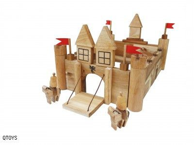 Q-Toys Wooden Castle - To the towers!  An excellent wooden castle play set that encourages imaginative play.    Consisting of a drawbridge, arched doorways, connecting castle walls, tower platforms and 4 flags it also includes 2 play figurines.  Extend play be adding in new elements such as a moat with sharks, dinosaurs stomping around the hillside and keep people figurines safe within the castle walls.  So many play possibilities!  Made from non-toxic and child-friendly materials.  Ages 3+