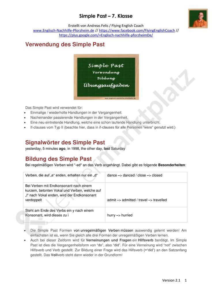 simple past arbeitsbl tter mit l sungen 7 klasse pdf und docx englisch autor in. Black Bedroom Furniture Sets. Home Design Ideas
