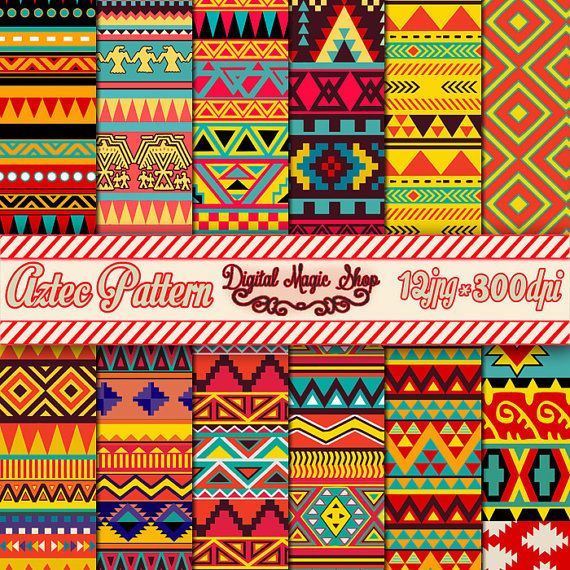 Bright Aztec Pattern Paper pack Ikat geometric by DigitalMagicShop, $2.50