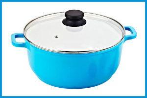 Ceramic Cooking Pots:Vinaroz Die Cast Aluminum with Ceramic Coating 28-Cm, 6.8-Quart Casserole with Lid and Vent, Blue
