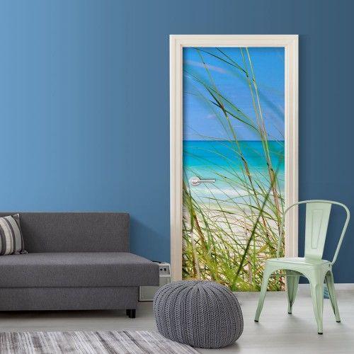 Tapeta na drzwi z sielskim, morskim pejzażem