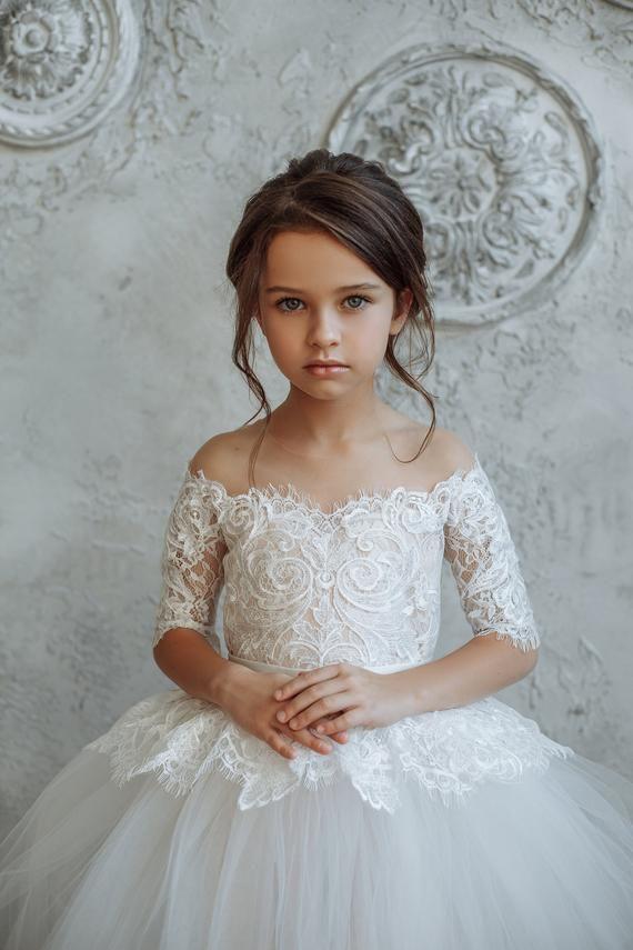Tulle Flower Girl Dress, Tutu Flower Girl Dress, Ivory Nude  Girl Dress, Long sleeves Girl Dress, La