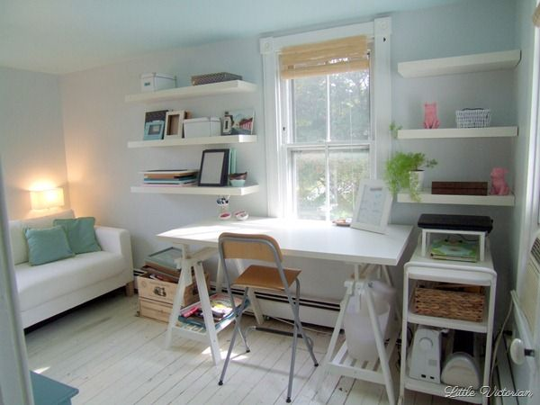 118 best office ideas images on pinterest office spaces - Small guest bedroom office ideas ...