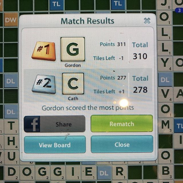 Two games in a row Ive beat @caterinamilligan  at #scrabble - at least shes a good loooooser ;)