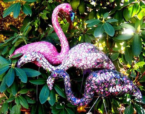 .mosaic flamingos.