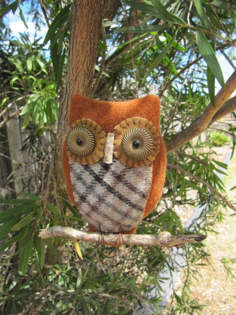 Primitive Folk Art OWL Orni by mariadownunder on Etsy, $22.00