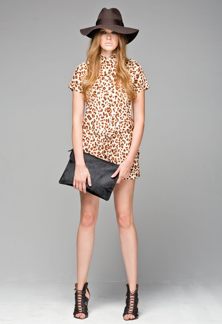 Little Joe Woman's leopard print Caffeinated silk playsuit, paired with the Luna leather and pony hair clutch