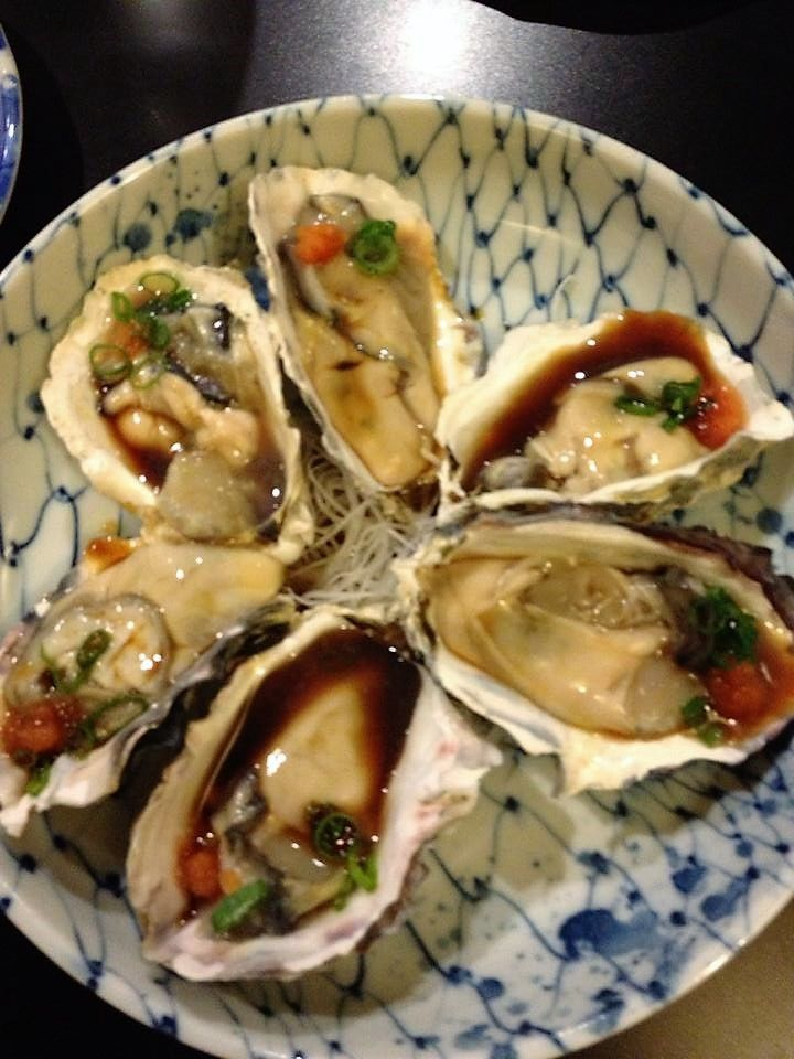 Fresh Oysters - Golden Mantle with ponzu sauce and garnish