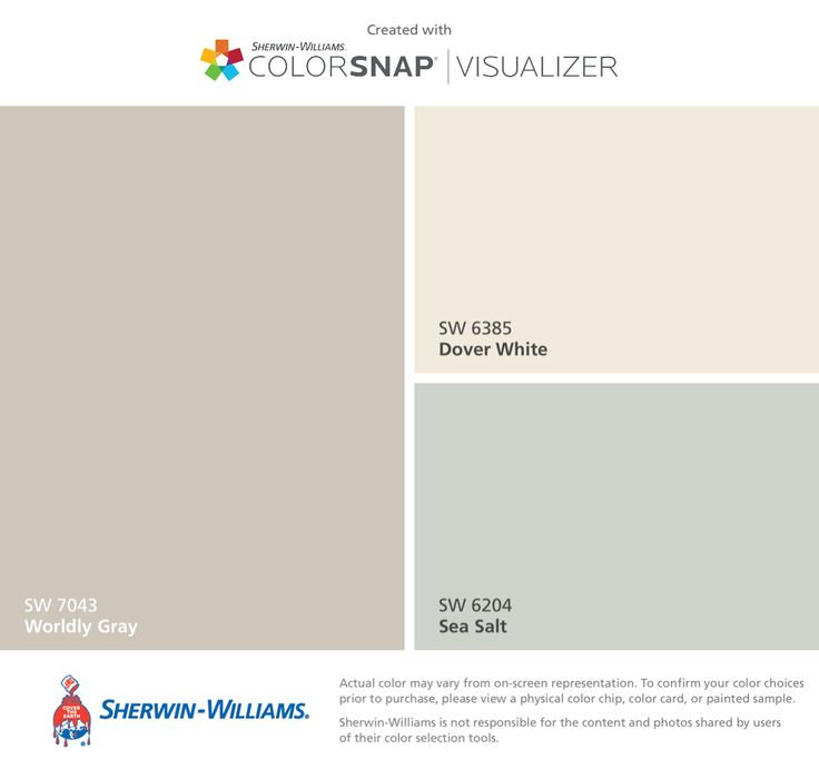 I found these colors with ColorSnap® Visualizer for iPhone by Sherwin-Williams: Worldly Gray (SW 7043), Dover White (SW 6385), Sea Salt (SW 6204).